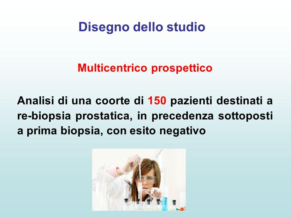 Disegno dello studio Multicentrico prospettico Analisi di una coorte di 150 pazienti destinati a re-biopsia prostatica, in precedenza sottoposti a pri