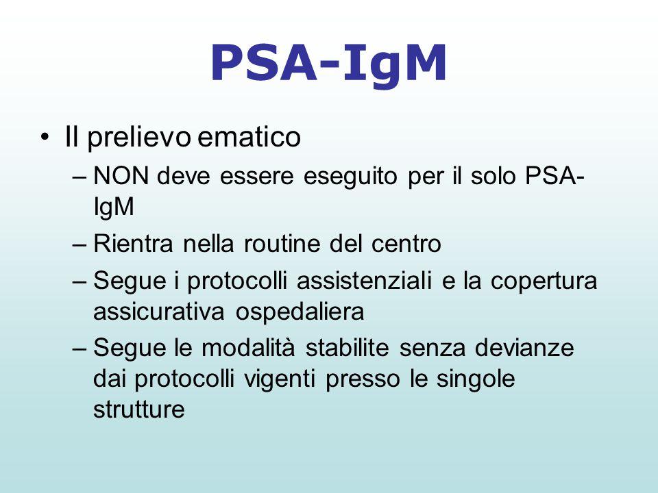 Il prelievo ematico –NON deve essere eseguito per il solo PSA- IgM –Rientra nella routine del centro –Segue i protocolli assistenziali e la copertura