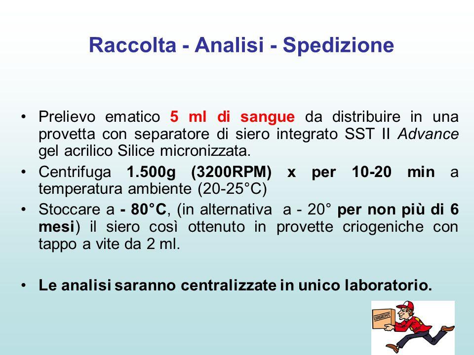 Raccolta - Analisi - Spedizione Prelievo ematico 5 ml di sangue da distribuire in una provetta con separatore di siero integrato SST II Advance gel ac