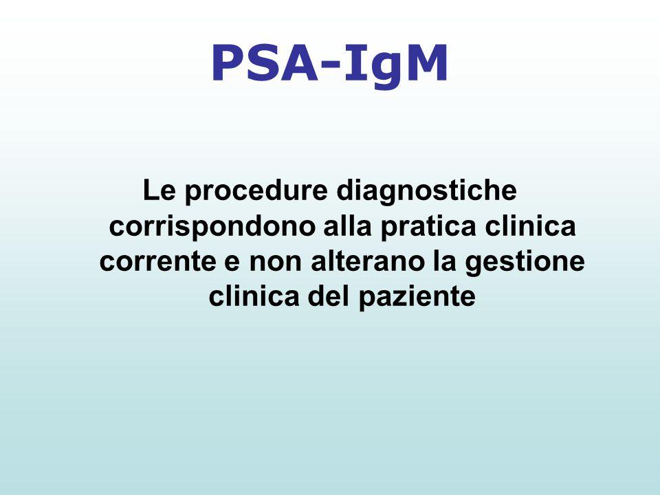 Le procedure diagnostiche corrispondono alla pratica clinica corrente e non alterano la gestione clinica del paziente PSA-IgM