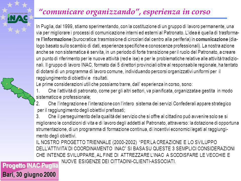 Progetto INAC Puglia Bari, 30 giugno 2000 comunicare organizzando , esperienza in corso In Puglia, dal 1999, stiamo sperimentando, con la costituzione di un gruppo di lavoro permanente, una via per migliorare i processi di comunicazione interni ed esterni al Patronato.