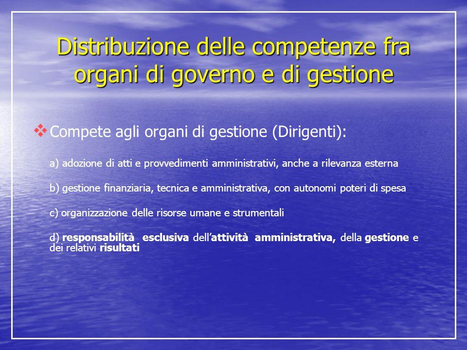  Compete agli organi di gestione (Dirigenti): a) adozione di atti e provvedimenti amministrativi, anche a rilevanza esterna b) gestione finanziaria,