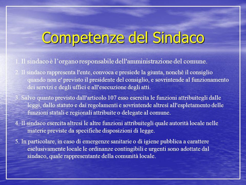 Competenze del Sindaco 1. Il sindaco è l'organo responsabile dell'amministrazione del comune. 2. Il sindaco rappresenta l'ente, convoca e presiede la