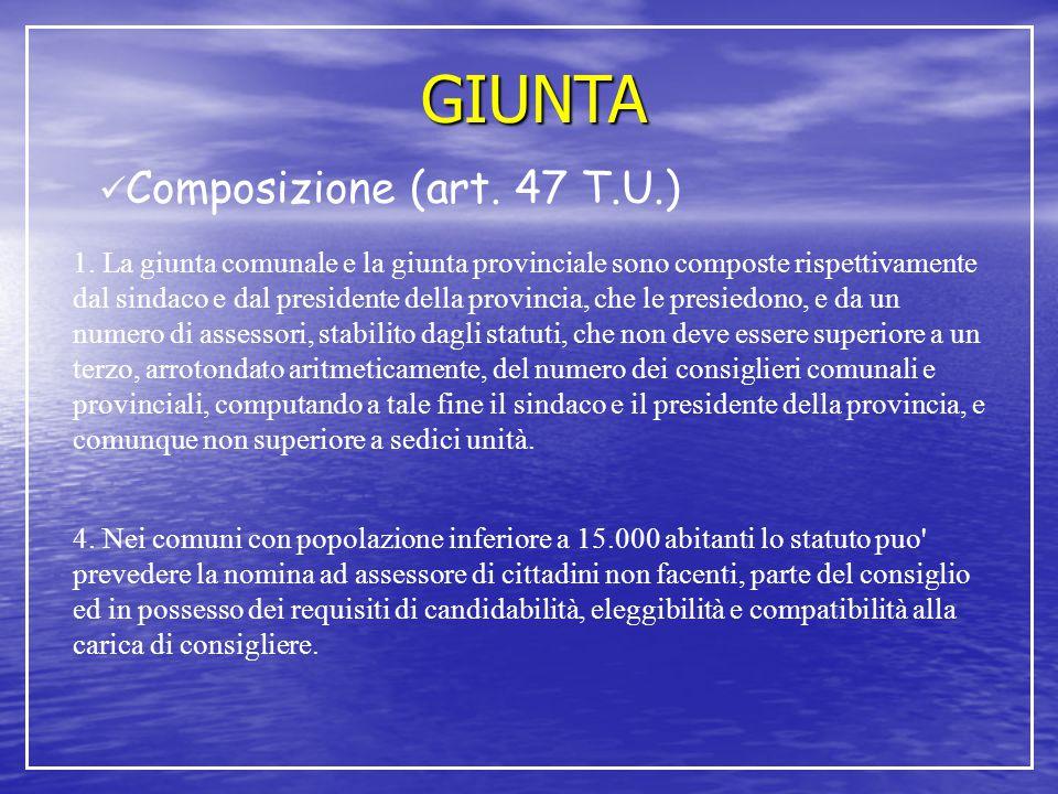 GIUNTA Composizione (art. 47 T.U.) 1. La giunta comunale e la giunta provinciale sono composte rispettivamente dal sindaco e dal presidente della prov