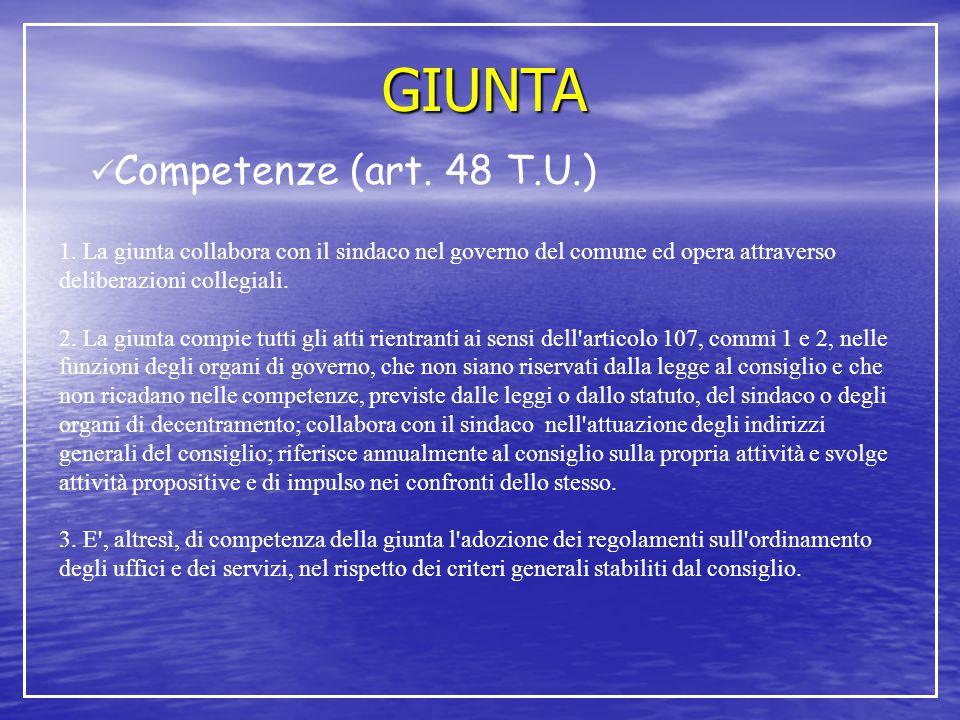 GIUNTA Competenze (art. 48 T.U.) 1. La giunta collabora con il sindaco nel governo del comune ed opera attraverso deliberazioni collegiali. 2. La giun