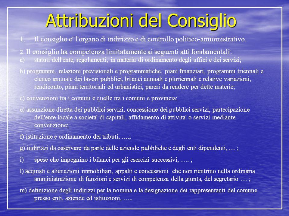 Attribuzioni del Consiglio 1.Il consiglio e' l'organo di indirizzo e di controllo politico-amministrativo. 2. Il consiglio ha competenza limitatamente