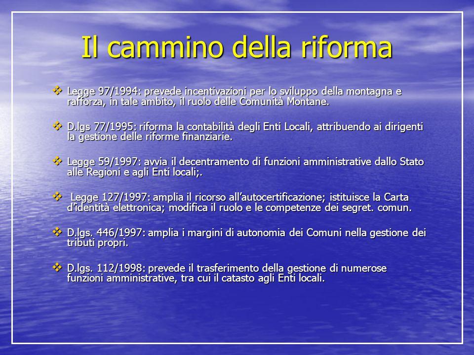 Il cammino della riforma  Legge 97/1994: prevede incentivazioni per lo sviluppo della montagna e rafforza, in tale ambito, il ruolo delle Comunità Mo