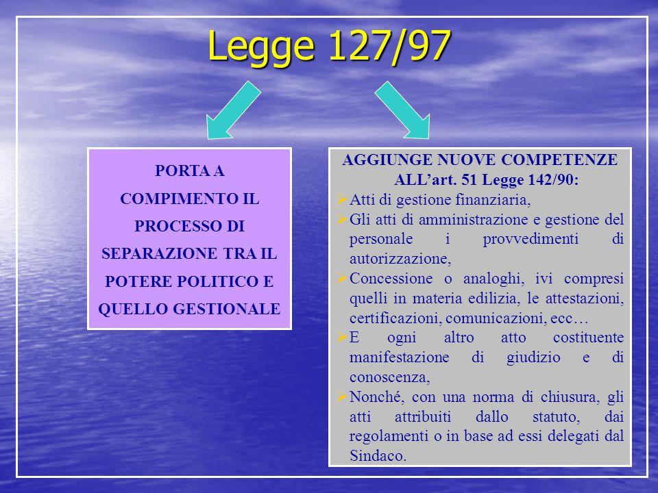 Legge 127/97 PORTA A COMPIMENTO IL PROCESSO DI SEPARAZIONE TRA IL POTERE POLITICO E QUELLO GESTIONALE AGGIUNGE NUOVE COMPETENZE ALL'art. 51 Legge 142/