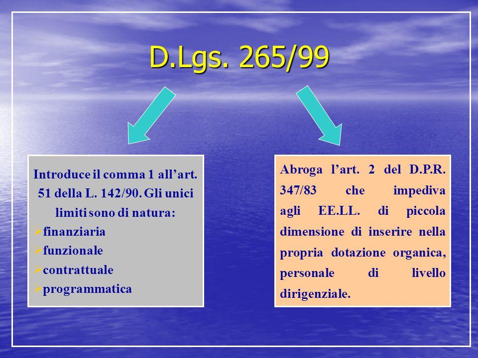 D.Lgs. 265/99 Introduce il comma 1 all'art. 51 della L. 142/90. Gli unici limiti sono di natura:  finanziaria  funzionale  contrattuale  programma
