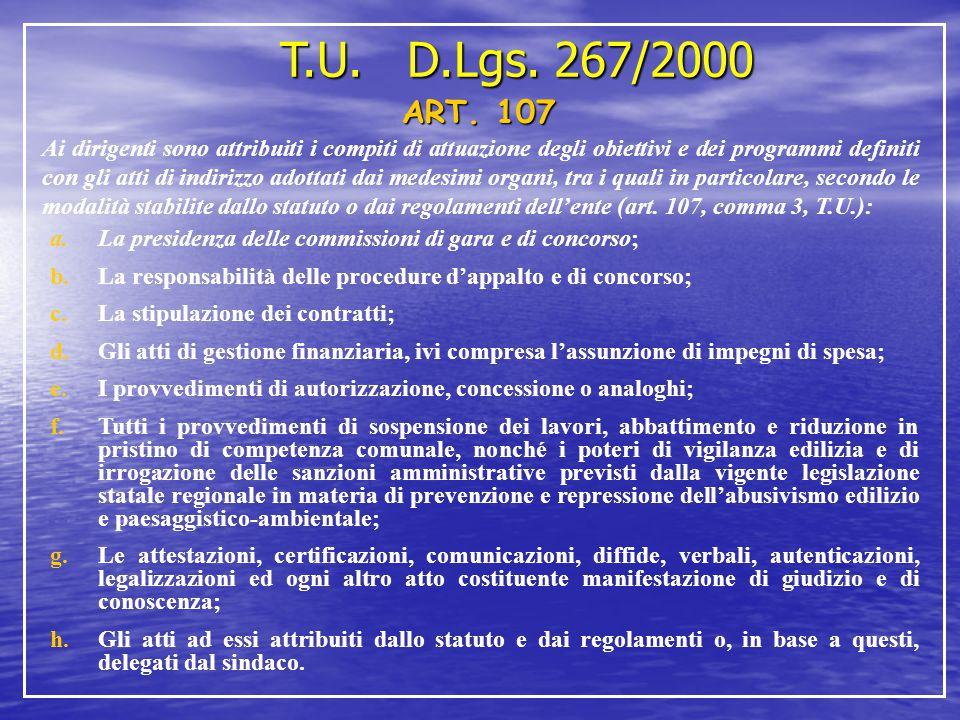 T.U. D.Lgs. 267/2000 ART. 107 Ai dirigenti sono attribuiti i compiti di attuazione degli obiettivi e dei programmi definiti con gli atti di indirizzo