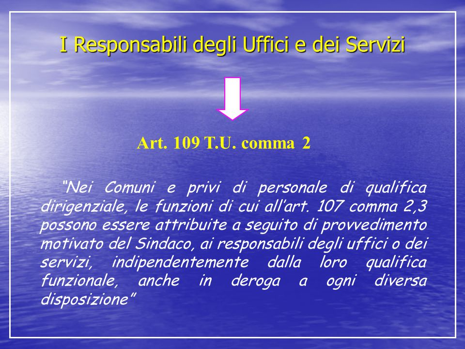 """I Responsabili degli Uffici e dei Servizi Art. 109 T.U. comma 2 """"Nei Comuni e privi di personale di qualifica dirigenziale, le funzioni di cui all'art"""