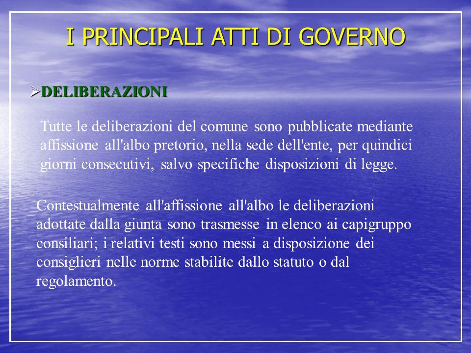 I PRINCIPALI ATTI DI GOVERNO  DELIBERAZIONI Tutte le deliberazioni del comune sono pubblicate mediante affissione all'albo pretorio, nella sede dell'