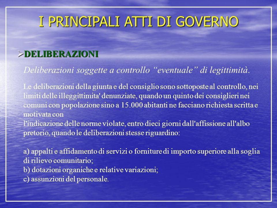 """I PRINCIPALI ATTI DI GOVERNO  DELIBERAZIONI Deliberazioni soggette a controllo """"eventuale"""" di legittimità. Le deliberazioni della giunta e del consig"""