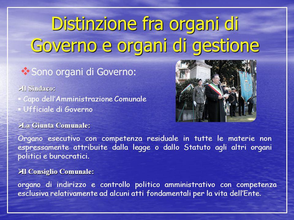 Distinzione fra organi di Governo e organi di gestione  Sono organi di Governo:  Il Sindaco:  Capo dell'Amministrazione Comunale  Ufficiale di Gov