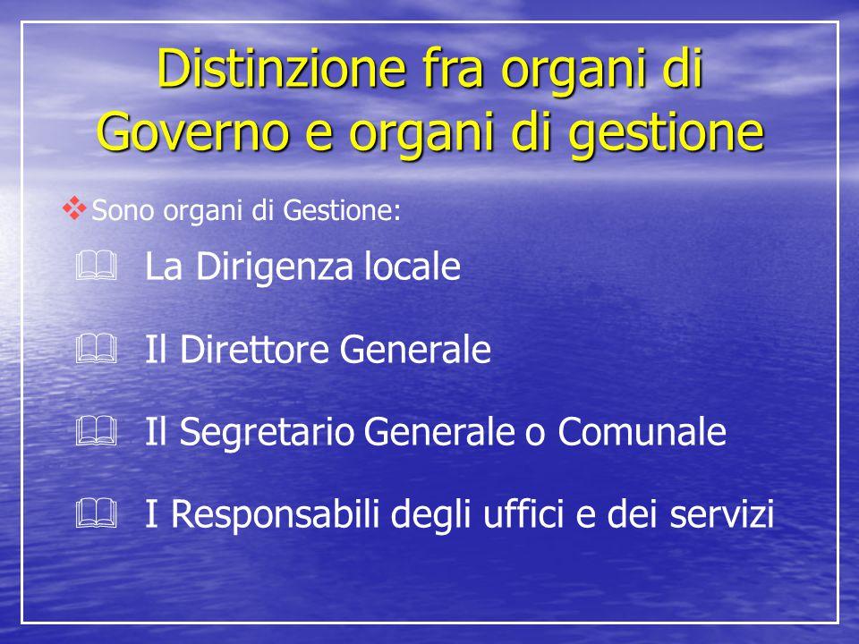 Distinzione fra organi di Governo e organi di gestione  Sono organi di Gestione:  La Dirigenza locale  Il Direttore Generale  Il Segretario Genera