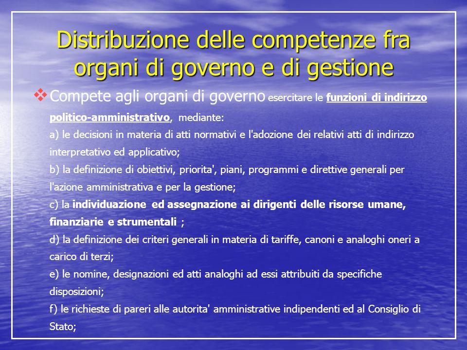 Distribuzione delle competenze fra organi di governo e di gestione  Compete agli organi di governo esercitare le funzioni di indirizzo politico-ammin