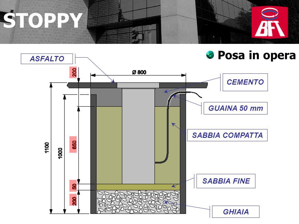 ASFALTO CEMENTO GUAINA 50 mm SABBIA COMPATTA SABBIA FINE GHIAIA STOPPY Posa in opera