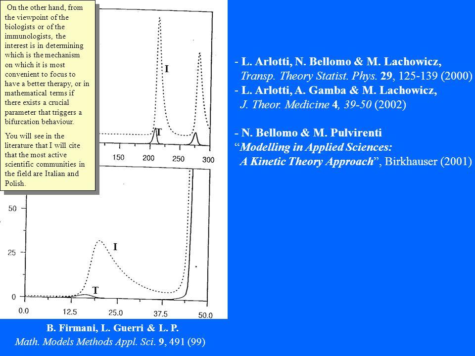 - L. Arlotti, N. Bellomo & M. Lachowicz, Transp. Theory Statist. Phys. 29, 125-139 (2000) - L. Arlotti, A. Gamba & M. Lachowicz, J. Theor. Medicine 4,