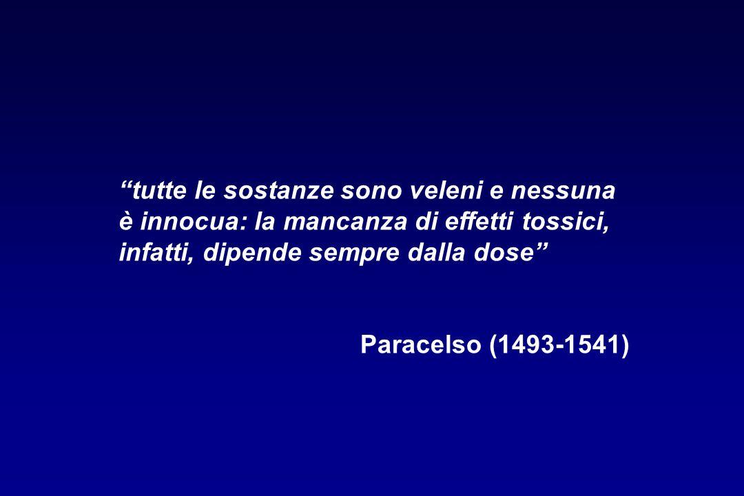 tutte le sostanze sono veleni e nessuna è innocua: la mancanza di effetti tossici, infatti, dipende sempre dalla dose Paracelso (1493-1541)