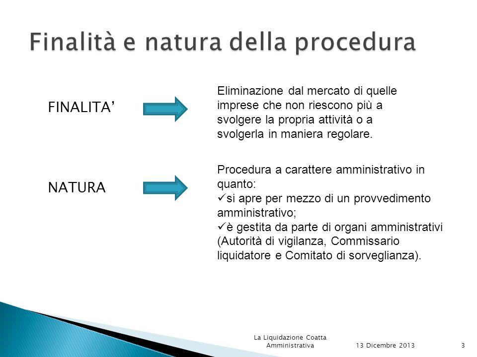 FINALITA' NATURA 13 Dicembre 2013 La Liquidazione Coatta Amministrativa3 Eliminazione dal mercato di quelle imprese che non riescono più a svolgere la propria attività o a svolgerla in maniera regolare.