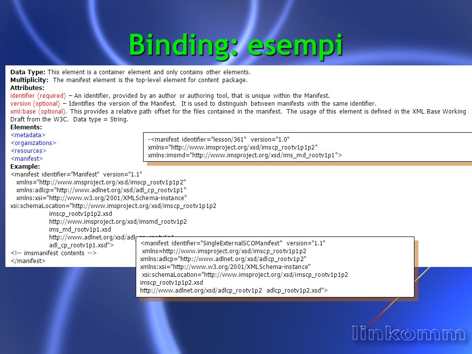 Binding: esempi Data Type: This element is a container element and only contains other elements.