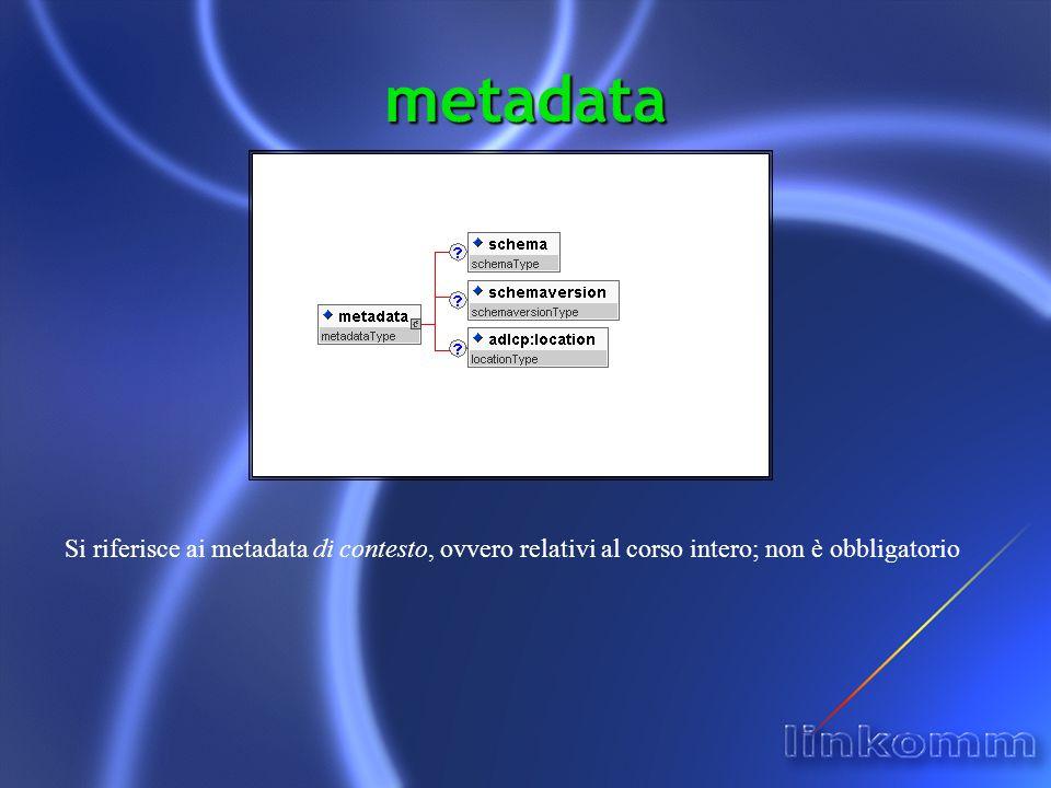 metadata Si riferisce ai metadata di contesto, ovvero relativi al corso intero; non è obbligatorio