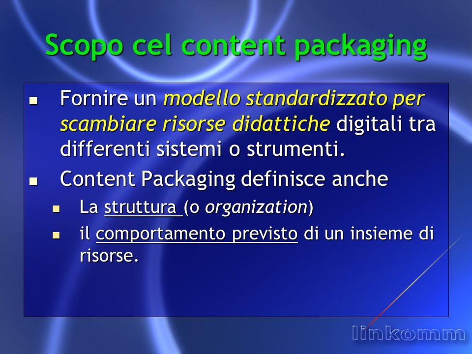 Scopo cel content packaging Fornire un modello standardizzato per scambiare risorse didattiche digitali tra differenti sistemi o strumenti.