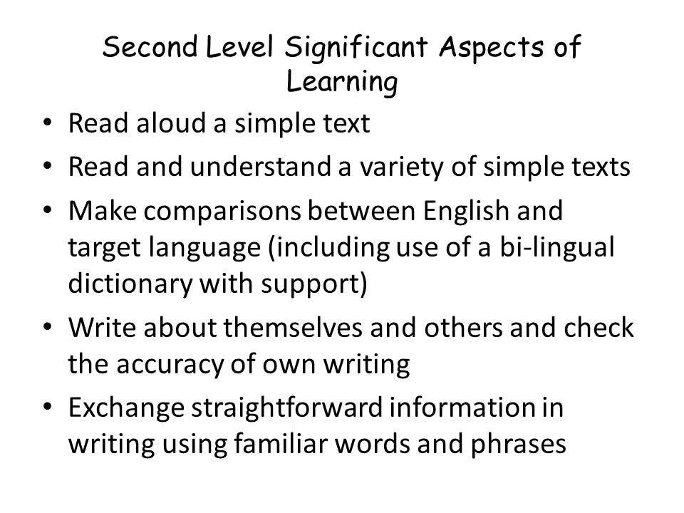Second Level Significant Aspects of Learning Actively take part in daily routine Understand and respond to classroom instructions and personal informa