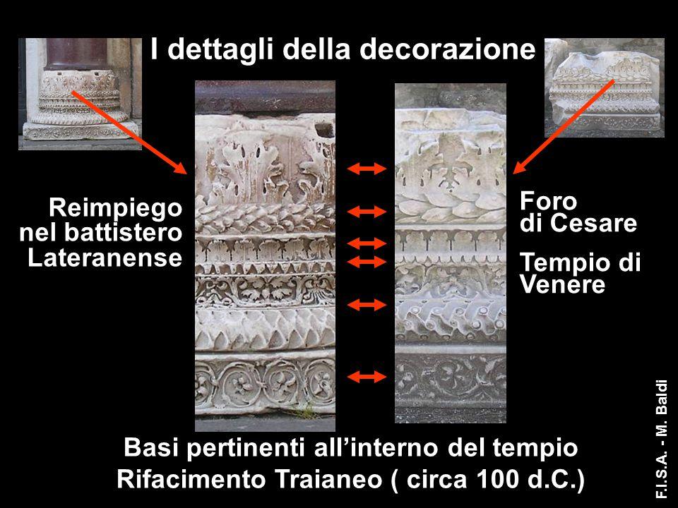 I dettagli della decorazione Reimpiego nel battistero Lateranense Foro di Cesare Tempio di Venere Basi pertinenti all'interno del tempio Rifacimento T