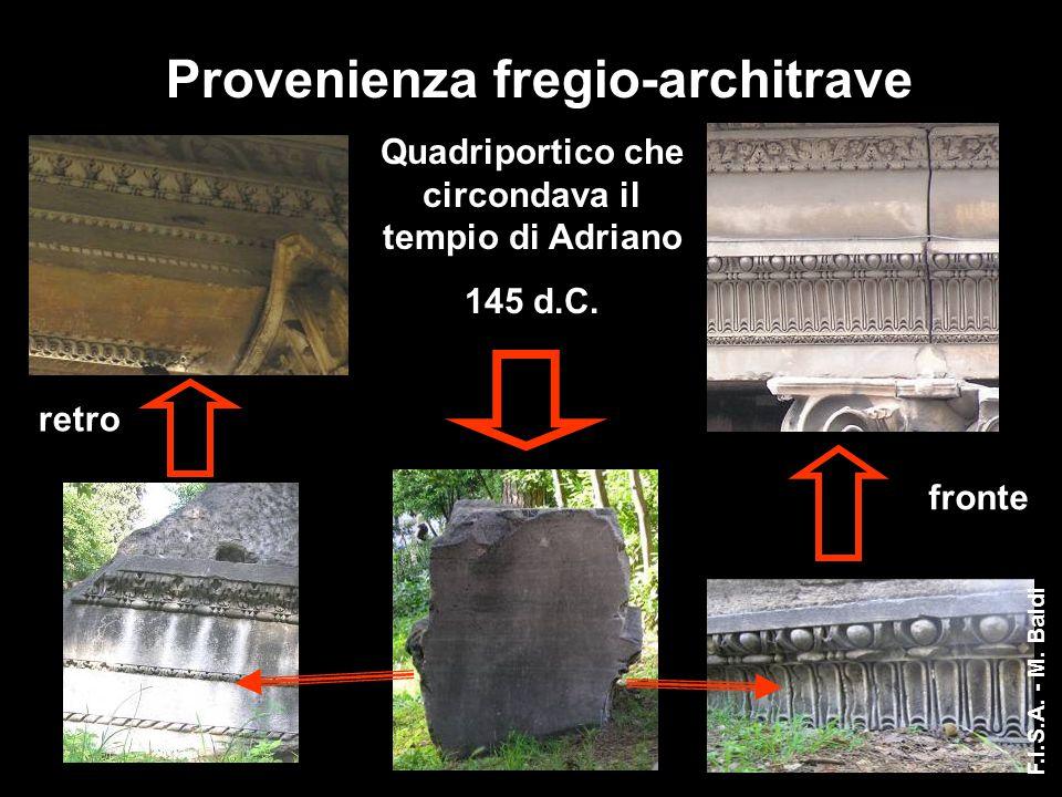 Provenienza fregio-architrave retro fronte Quadriportico che circondava il tempio di Adriano 145 d.C. F.I.S.A. - M. Baldi
