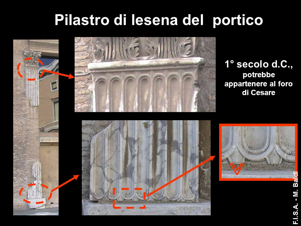 Pilastro di lesena del portico 1° secolo d.C., potrebbe appartenere al foro di Cesare F.I.S.A. - M. Baldi