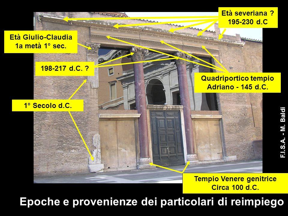 1° Secolo d.C. Quadriportico tempio Adriano - 145 d.C. Età severiana ? 195-230 d.C Tempio Venere genitrice Circa 100 d.C. Età Giulio-Claudia 1a metà 1