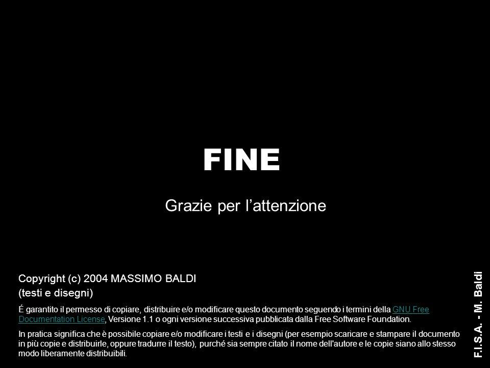 Grazie per l'attenzione FINE F.I.S.A. - M. Baldi Copyright (c) 2004 MASSIMO BALDI (testi e disegni) É garantito il permesso di copiare, distribuire e/