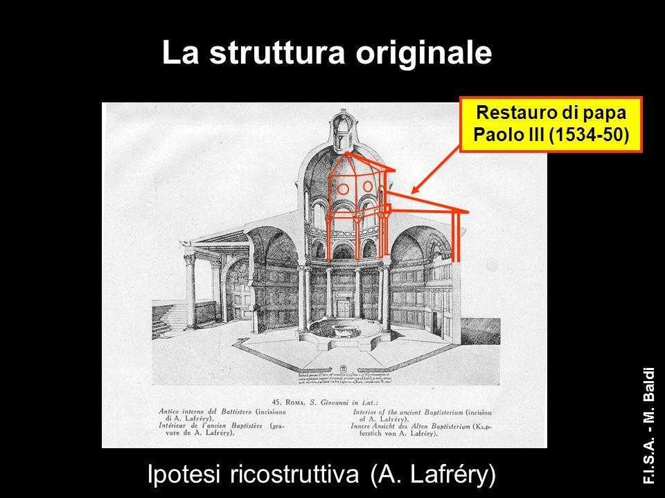 Ipotesi ricostruttiva (A. Lafréry) Restauro di papa Paolo III (1534-50) La struttura originale F.I.S.A. - M. Baldi