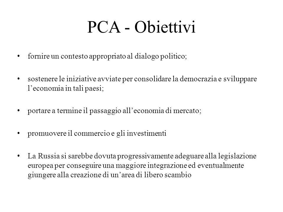 PCA - Obiettivi fornire un contesto appropriato al dialogo politico; sostenere le iniziative avviate per consolidare la democrazia e sviluppare l'econ