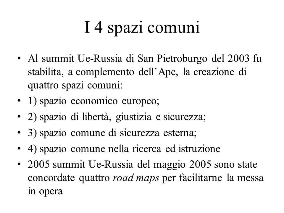 I 4 spazi comuni Al summit Ue-Russia di San Pietroburgo del 2003 fu stabilita, a complemento dell'Apc, la creazione di quattro spazi comuni: 1) spazio