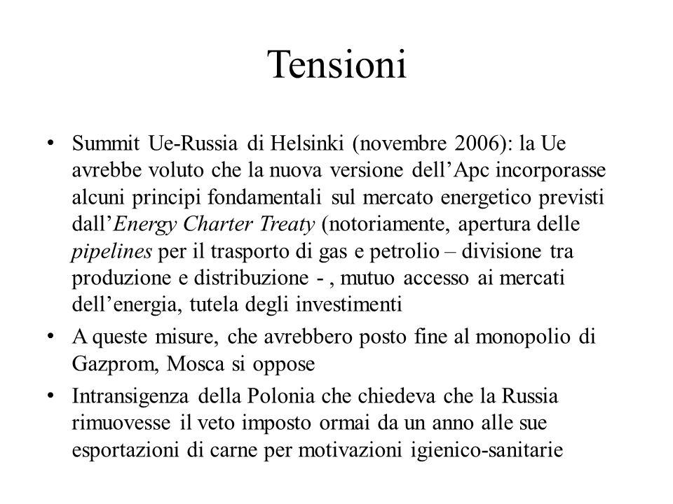 Tensioni Summit Ue-Russia di Helsinki (novembre 2006): la Ue avrebbe voluto che la nuova versione dell'Apc incorporasse alcuni principi fondamentali s