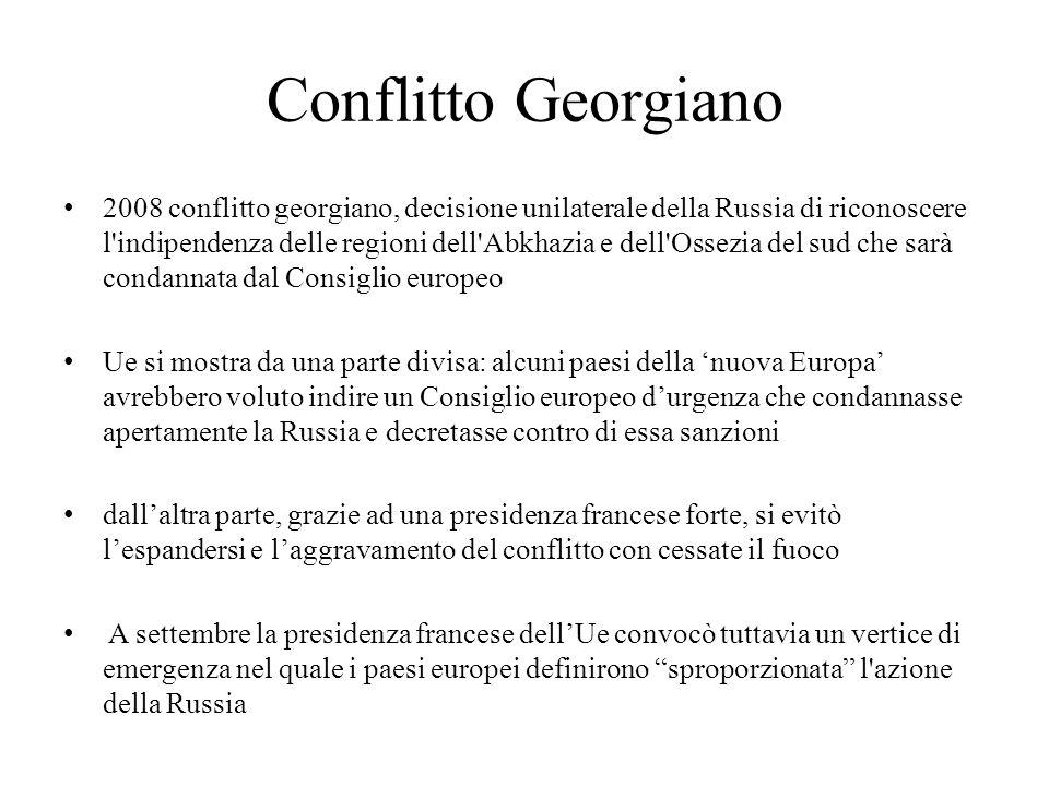 Conflitto Georgiano 2008 conflitto georgiano, decisione unilaterale della Russia di riconoscere l'indipendenza delle regioni dell'Abkhazia e dell'Osse