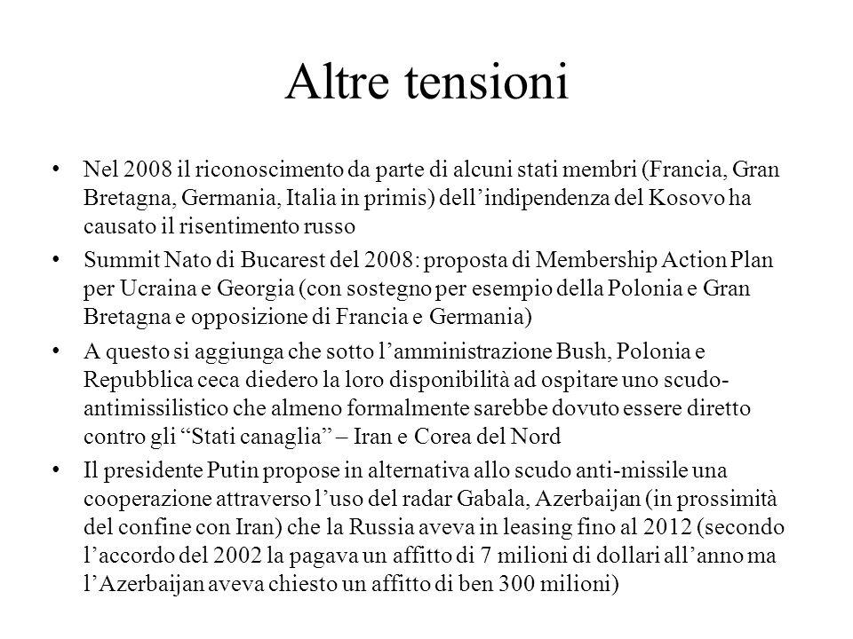 Altre tensioni Nel 2008 il riconoscimento da parte di alcuni stati membri (Francia, Gran Bretagna, Germania, Italia in primis) dell'indipendenza del K