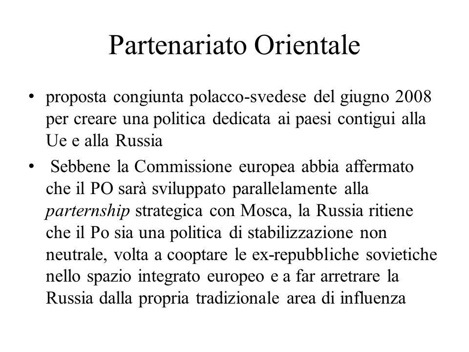 Partenariato Orientale proposta congiunta polacco-svedese del giugno 2008 per creare una politica dedicata ai paesi contigui alla Ue e alla Russia Seb