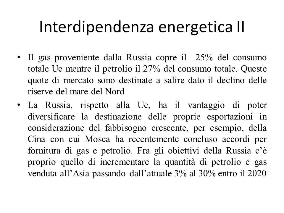 Interdipendenza energetica II Il gas proveniente dalla Russia copre il 25% del consumo totale Ue mentre il petrolio il 27% del consumo totale. Queste