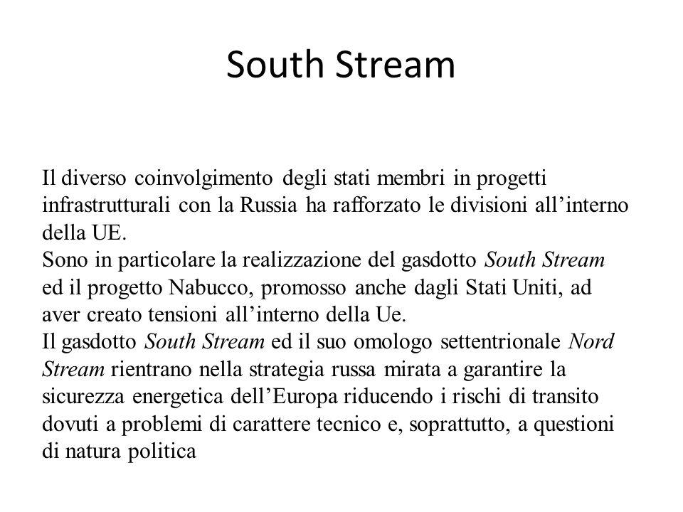 South Stream Il diverso coinvolgimento degli stati membri in progetti infrastrutturali con la Russia ha rafforzato le divisioni all'interno della UE.