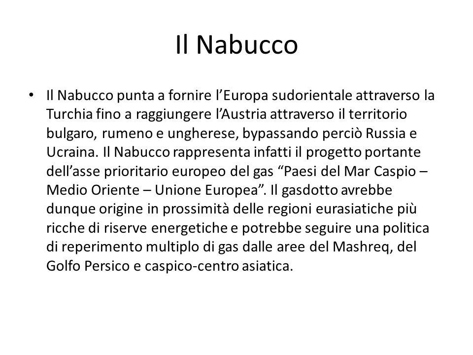 Il Nabucco Il Nabucco punta a fornire l'Europa sudorientale attraverso la Turchia fino a raggiungere l'Austria attraverso il territorio bulgaro, rumen