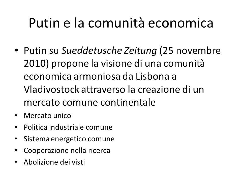 Putin e la comunità economica Putin su Sueddetusche Zeitung (25 novembre 2010) propone la visione di una comunità economica armoniosa da Lisbona a Vla