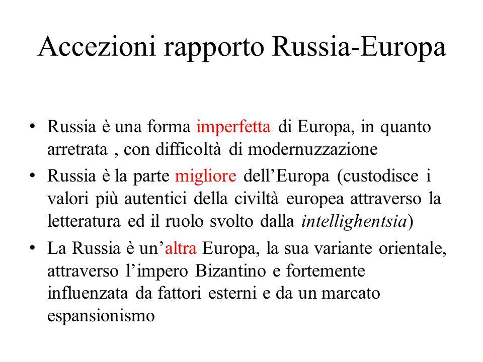 Accezioni rapporto Russia-Europa Russia è una forma imperfetta di Europa, in quanto arretrata, con difficoltà di modernuzzazione Russia è la parte mig