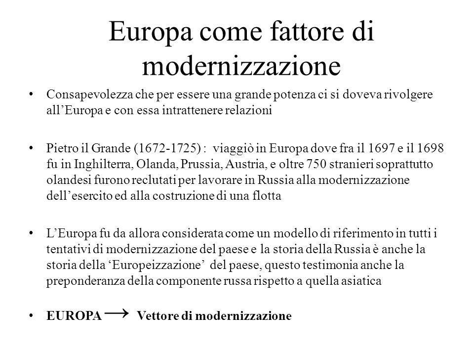 Europa come fattore di modernizzazione Consapevolezza che per essere una grande potenza ci si doveva rivolgere all'Europa e con essa intrattenere rela