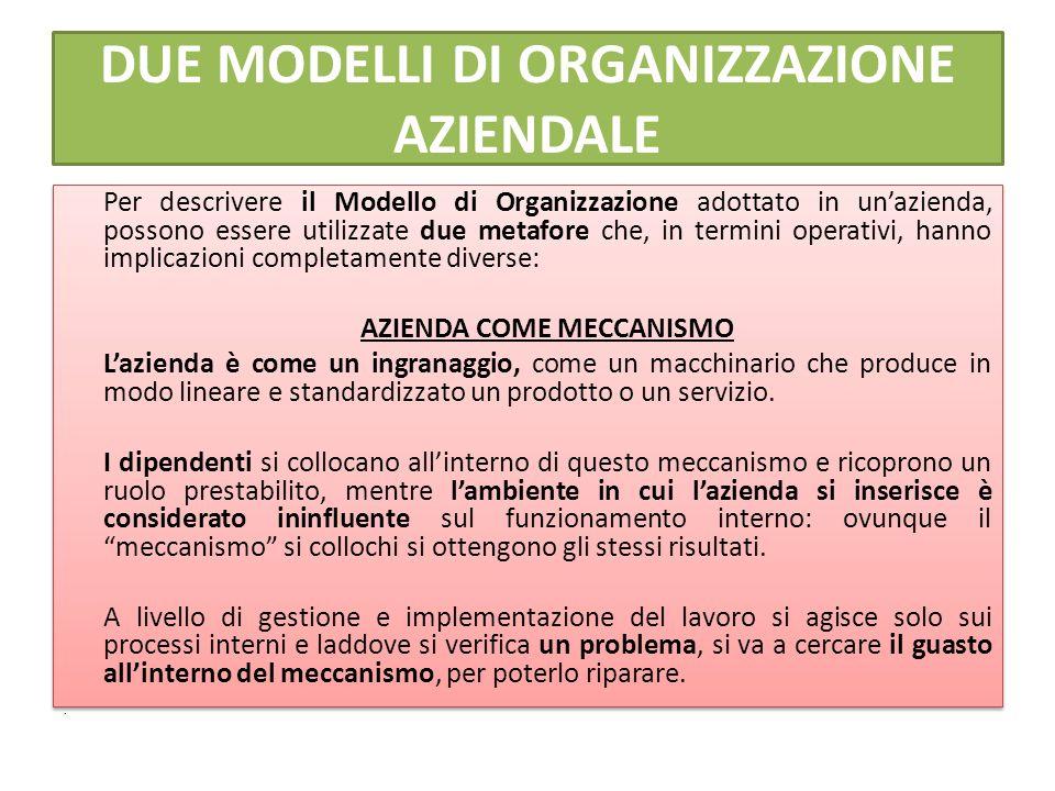 DUE MODELLI DI ORGANIZZAZIONE AZIENDALE Per descrivere il Modello di Organizzazione adottato in un'azienda, possono essere utilizzate due metafore che, in termini operativi, hanno implicazioni completamente diverse: AZIENDA COME MECCANISMO L'azienda è come un ingranaggio, come un macchinario che produce in modo lineare e standardizzato un prodotto o un servizio.