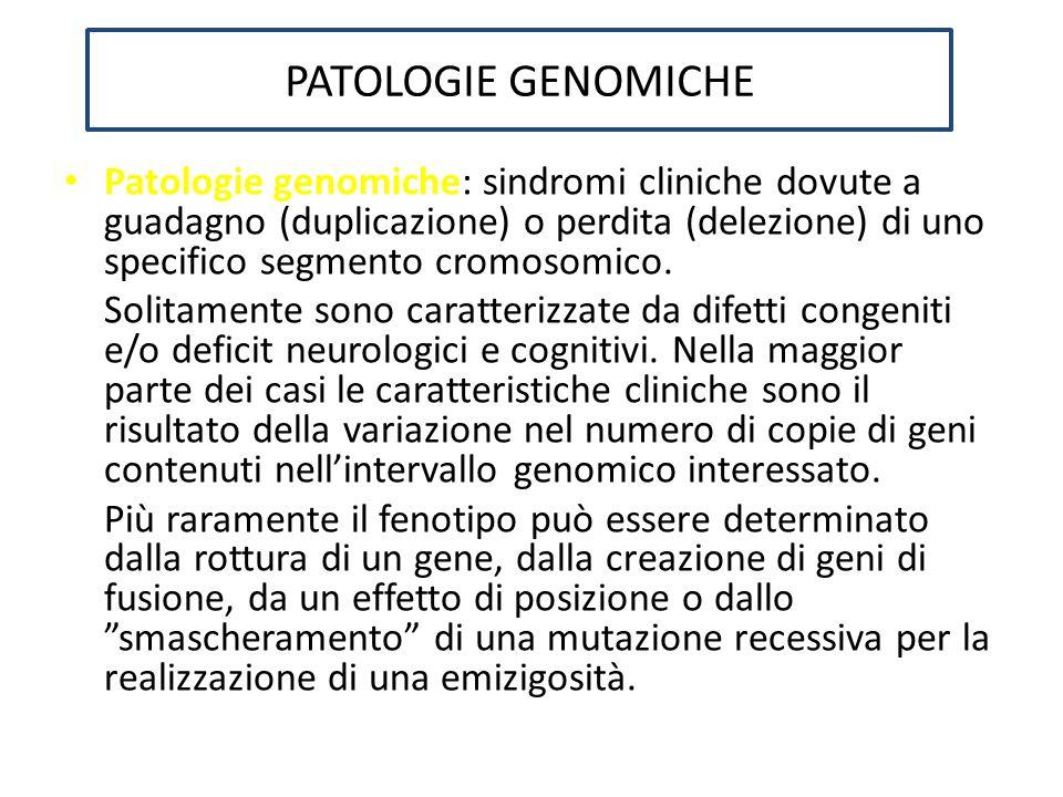 PATOLOGIE GENOMICHE Patologie genomiche: sindromi cliniche dovute a guadagno (duplicazione) o perdita (delezione) di uno specifico segmento cromosomic