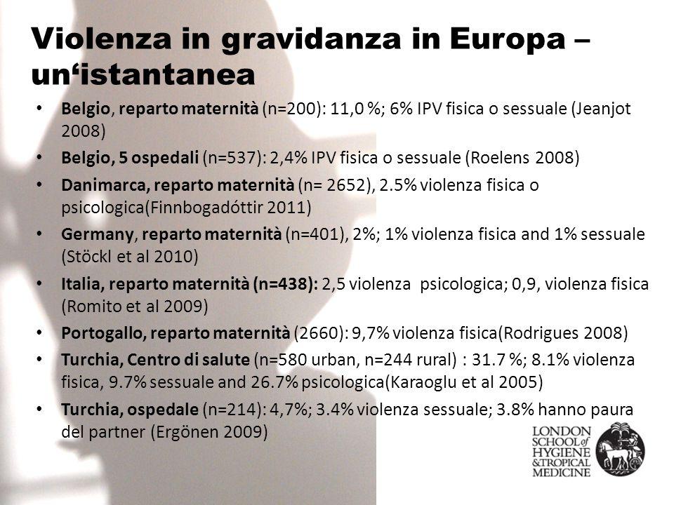 Violenza in gravidanza in Europa – un'istantanea Belgio, reparto maternità (n=200): 11,0 %; 6% IPV fisica o sessuale (Jeanjot 2008) Belgio, 5 ospedali (n=537): 2,4% IPV fisica o sessuale (Roelens 2008) Danimarca, reparto maternità (n= 2652), 2.5% violenza fisica o psicologica(Finnbogadóttir 2011) Germany, reparto maternità (n=401), 2%; 1% violenza fisica and 1% sessuale (Stöckl et al 2010) Italia, reparto maternità (n=438): 2,5 violenza psicologica; 0,9, violenza fisica (Romito et al 2009) Portogallo, reparto maternità (2660): 9,7% violenza fisica(Rodrigues 2008) Turchia, Centro di salute (n=580 urban, n=244 rural) : 31.7 %; 8.1% violenza fisica, 9.7% sessuale and 26.7% psicologica(Karaoglu et al 2005) Turchia, ospedale (n=214): 4,7%; 3.4% violenza sessuale; 3.8% hanno paura del partner (Ergönen 2009)