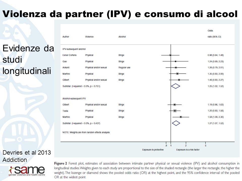 Devries et al 2013 Addiction Evidenze da studi longitudinali Violenza da partner (IPV) e consumo di alcool